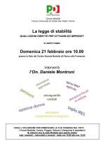 Iniziativa sulla Legge di Stabilità – domenica 21 febbraio – Sala del Centro Sociale Bertella