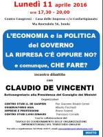 L'Economia e la Politica del Governo con il Sottosegretario Claudio De Vinventi