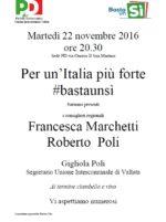 """Per un'Italia più forte """"Bastaunsì"""""""