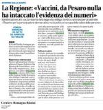 """Rassegna stampa. """"La Regione: «Vaccini, da Pesaro nulla ha intaccato l'evidenza dei numeri»"""""""