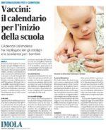 """Rassegna stampa. """"Vaccini: il calendario per l'inizio della scuola"""" – """"Vaccinazioni obbligatorie, in partenza 4 mila lettere alle famiglie"""""""