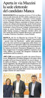 Rassegna stampa. Aperta in via Mazzini la sede elettorale del candidato Manca