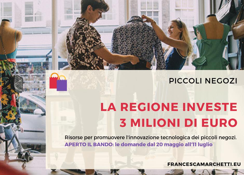 Opportunità digitale per i piccoli negozi: la Regione investe 3 milioni di euro. Aperto il bando