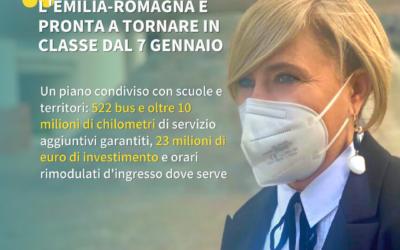 L'Emilia-Romagna è pronta a tornare in classe dal 7 gennaio: 522 bus da Piacenza a Rimini e orari rimodulati d'ingresso dove serve.