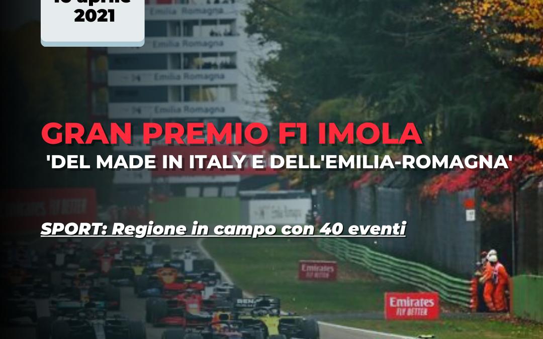 Sport e territorio. Emilia-Romagna in campo anche nel 2021. Il Gran Premio di F1 di Imola si chiamerà 'del Made in Italy e dell'Emilia-Romagna'.