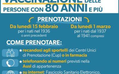Vaccinazione dei cittadini con 80 anni e più, si parte: prenotazioni dal 15 febbraio e dall'1 marzo in base all'anno di nascita