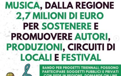 Musica, dalla Regione 2,7 milioni di euro per sostenere e promuovere autori, produzioni, circuiti di locali e festival