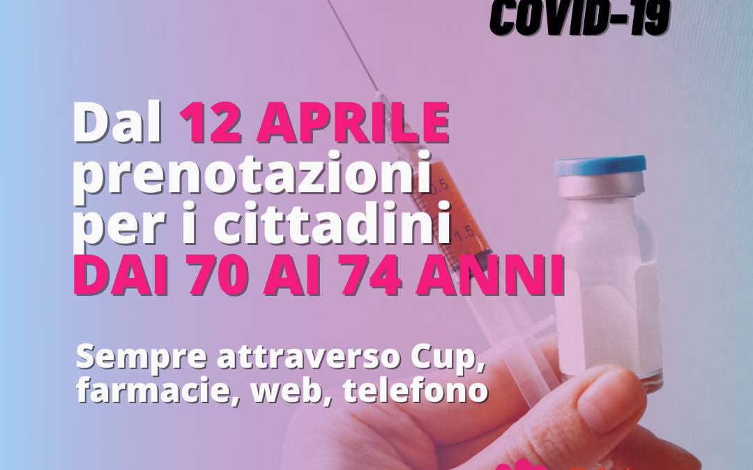 Covid, in Emilia-Romagna da lunedì 12 aprile via alle prenotazioni per il vaccino dei cittadini dai 70 ai 74 anni