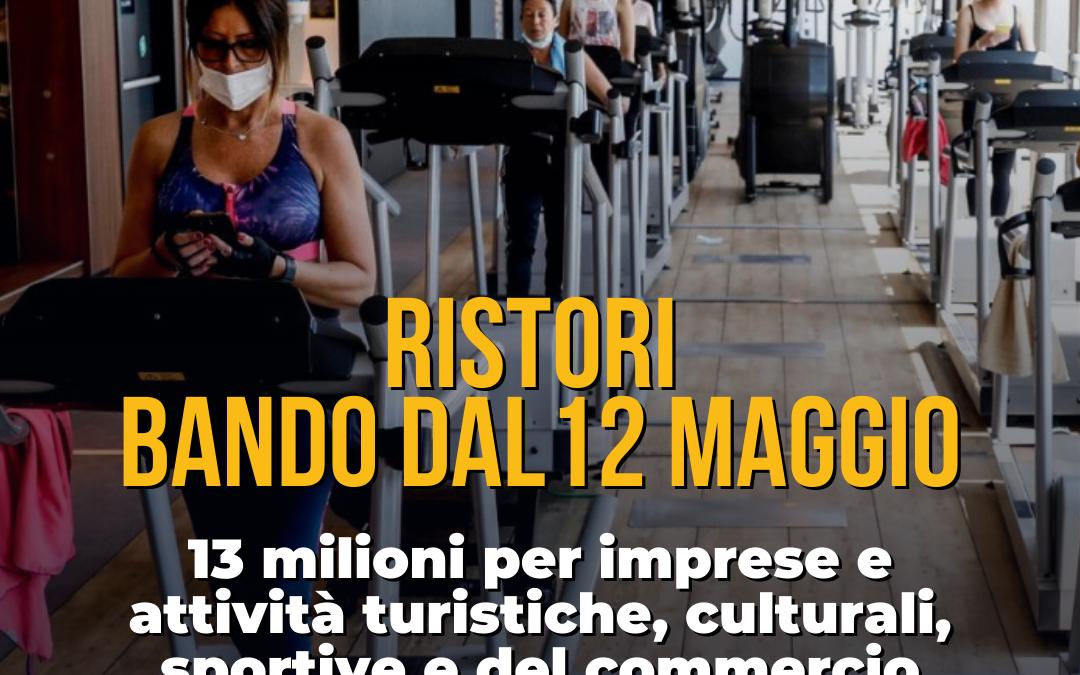 Covid, nuovo bando ristori regionali: 13 milioni per imprese e attività turistiche, culturali, sportive e del commercio